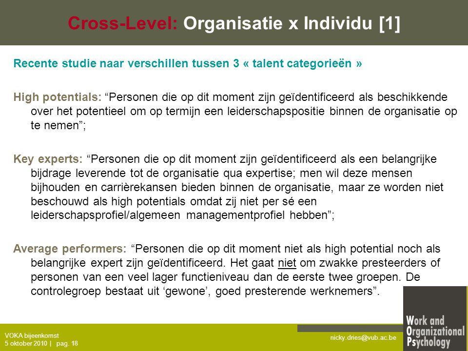 Cross-Level: Organisatie x Individu [1]